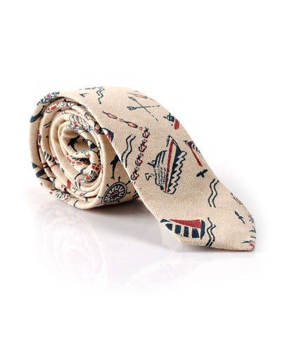 Off White Nautical Neck Tie - The Dapper Man