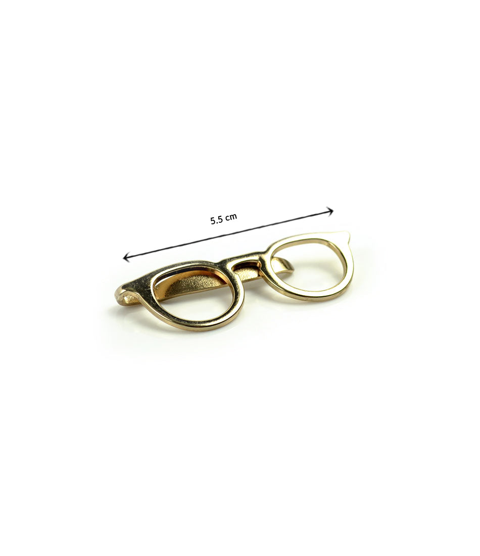 the dapper man  - Gold Retro Round Glasses Tie Bar