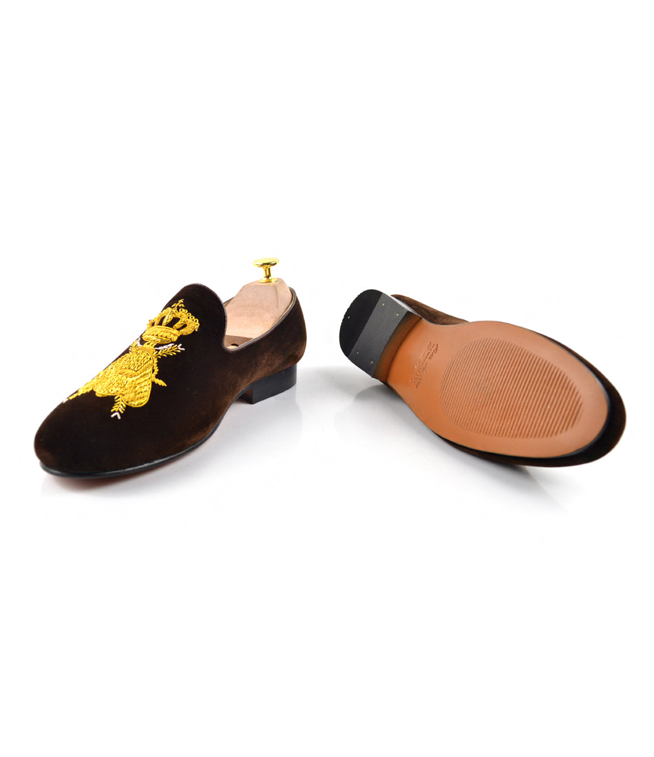 Zardozi Bee & Crown Albert Velvet Slippers - Brown - The Dapper Man