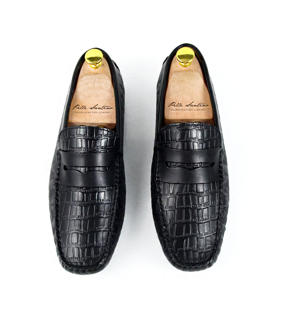 pelle santino - Croco Penny Driving Loafer - Blackpelle santino - Croco Penny Driving Loafer - Black