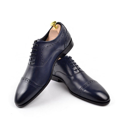 Cap Toe Oxfords - Navy - The Dapper Man