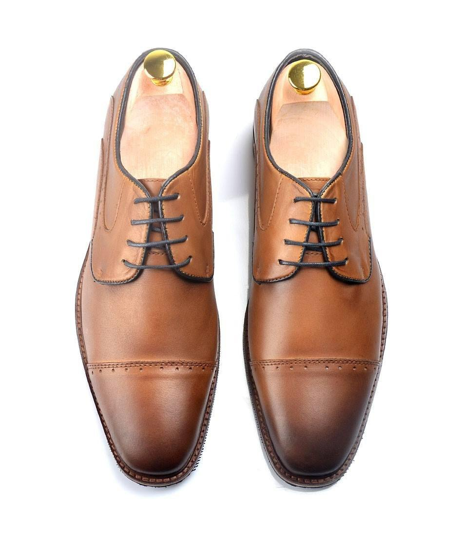Pelle Santino - Derby Cap Toe - Brown with Blue Lining
