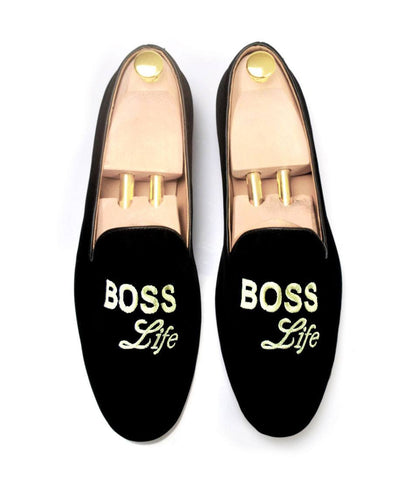 Pelle Santino - Black Albert Velvet Slippers - Boss Life