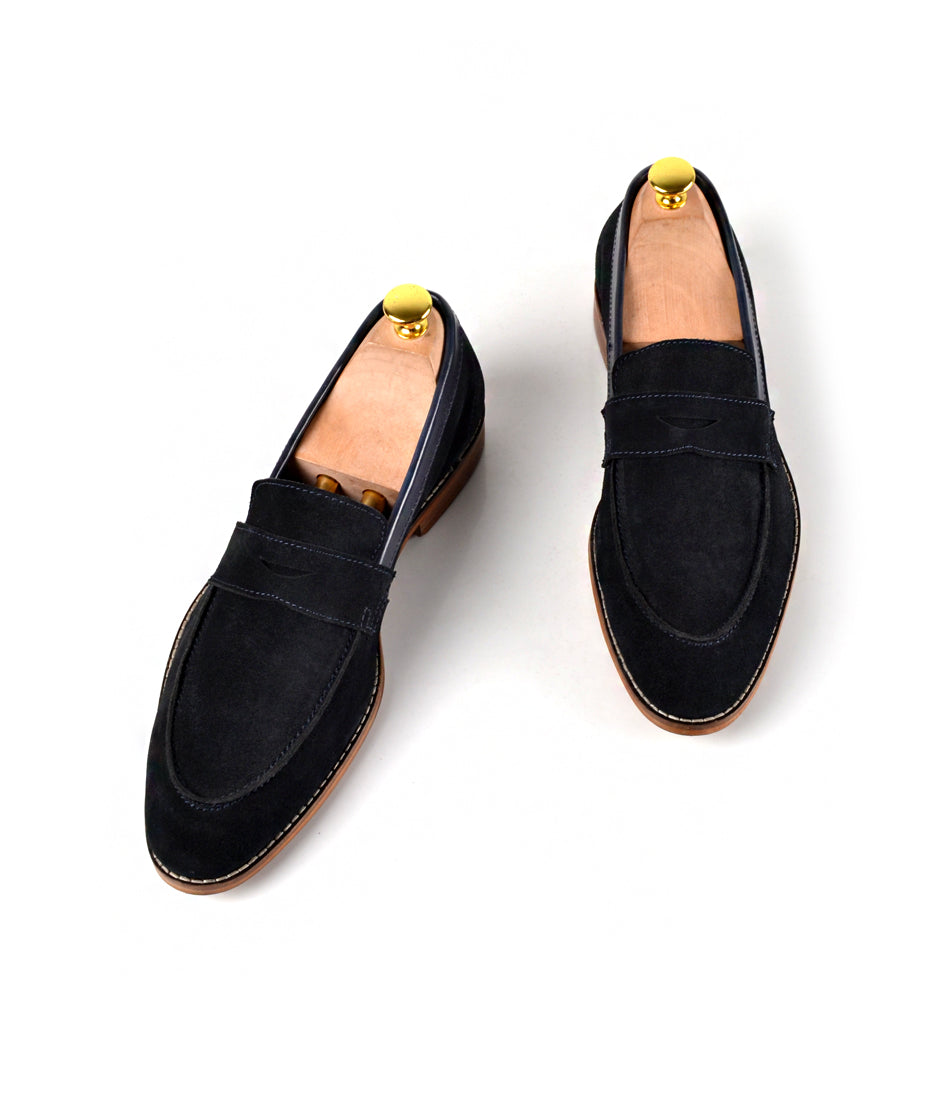 Navy Penny Loafers - Ultra-Flex - The Dapper Man