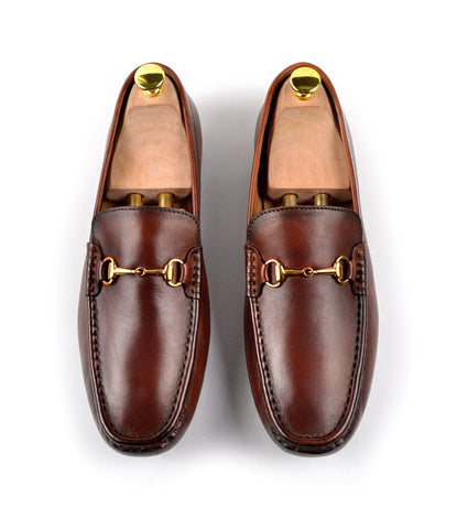 Leather Bit Loafers - Cognac