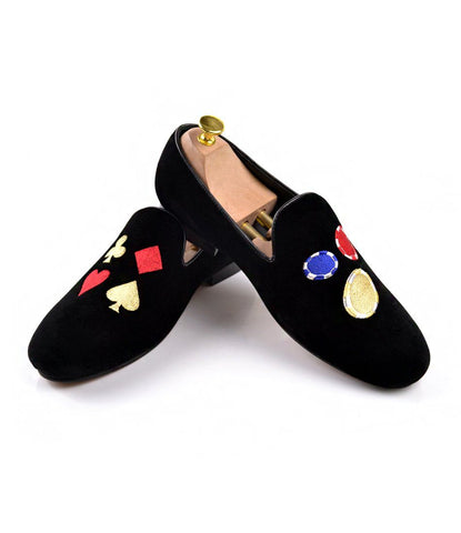 Blue Albert Velvet Slippers with Signature Embroidery
