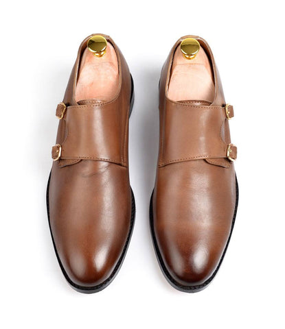 Double Monk Straps - Brown - The Dapper Man