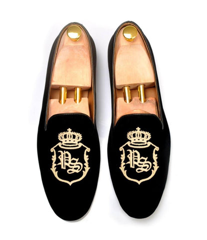 Black Albert Velvet Slippers with Signature Embroidery