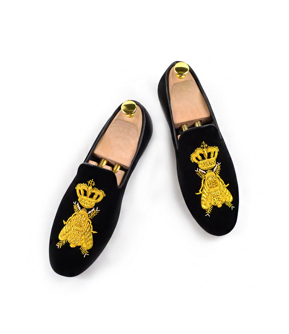 Zardozi Bee & Crown Albert Velvet Slippers - Black - The Dapper Man