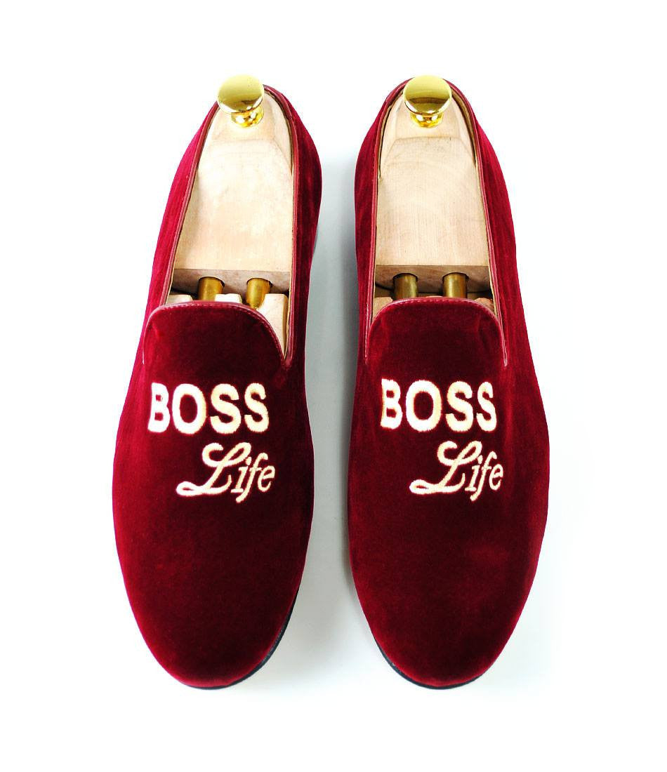 Maroon Albert Velvet Slippers - Boss Life - The Dapper Man