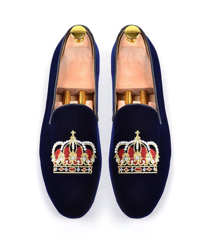 Blue Albert Velvet Slippers with Crown Embroidery - The Dapper Man
