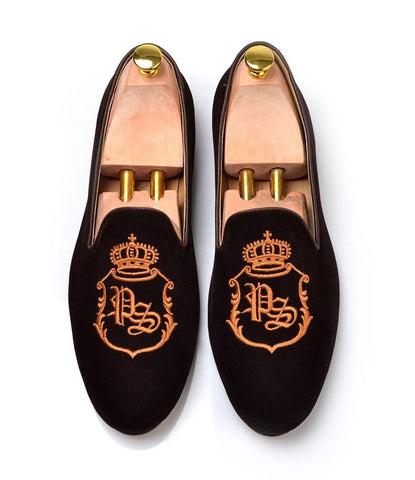 Brown Albert Velvet Slippers with Signature Embroidery - The Dapper Man