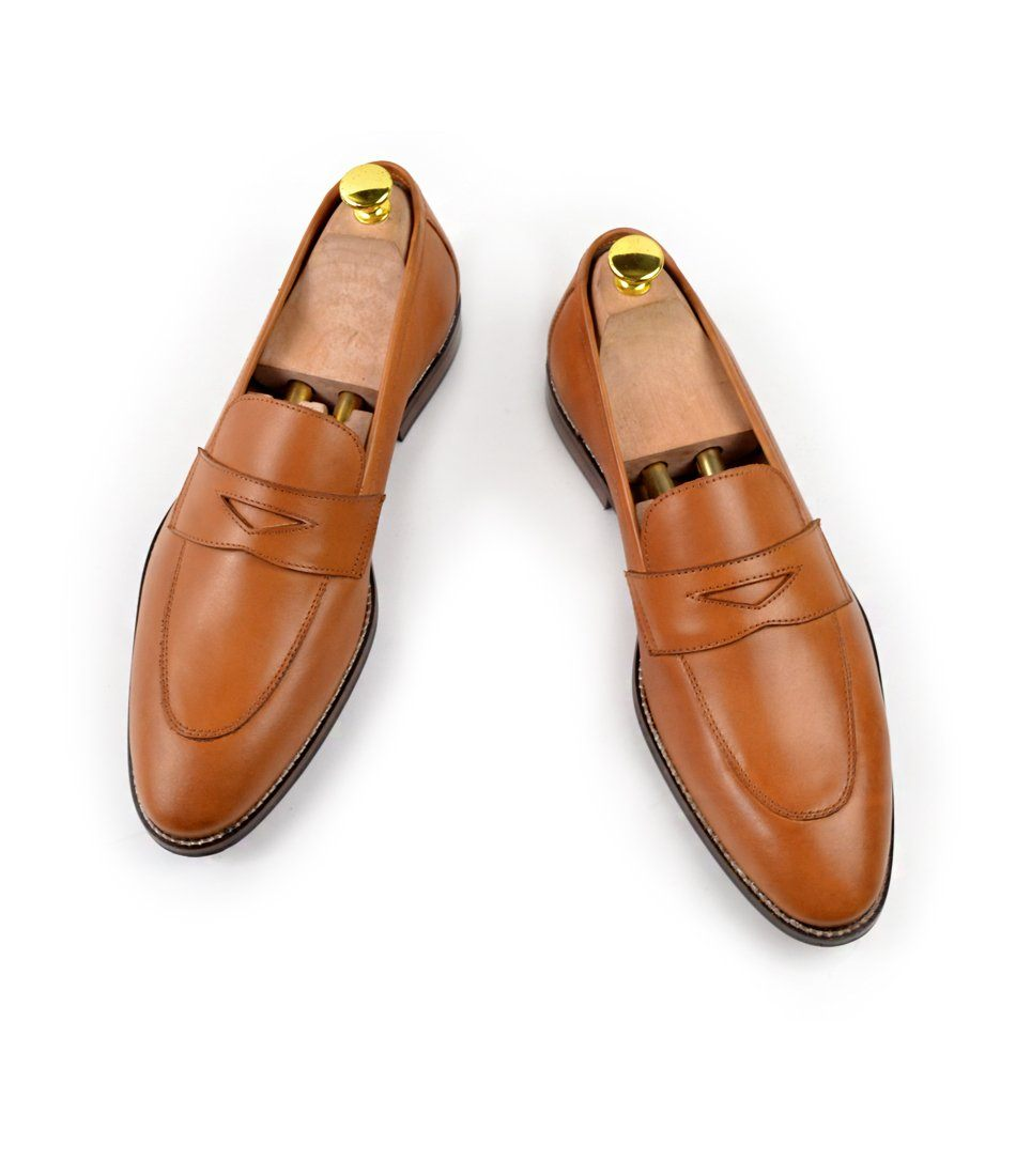 Tan Penny Loafers - The Dapper Man