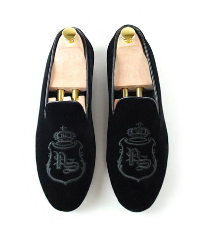 Full Black Albert Velvet Slippers with Signature Embroidery - LE