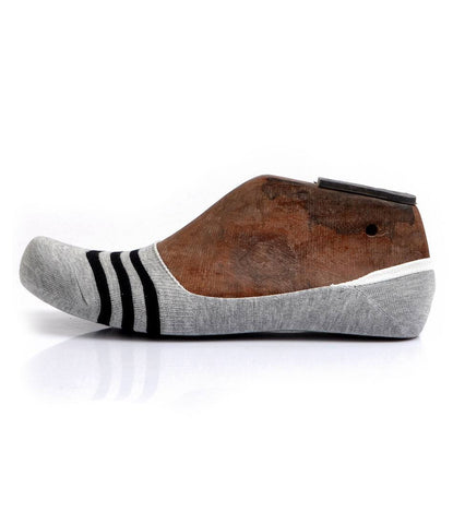 Grey Black Stripes No-Show Socks - The Dapper Man