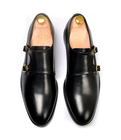Double Monk Straps - Black - The Dapper Man