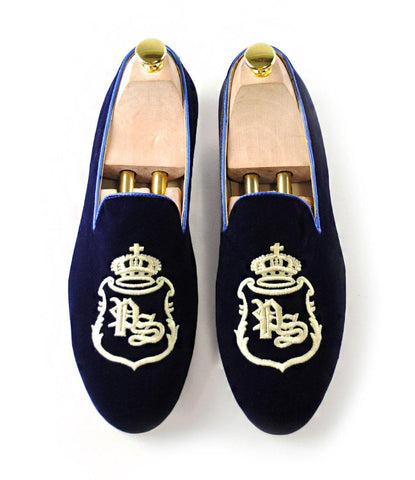 Blue Albert Velvet Slippers with Signature Embroidery - The Dapper Man