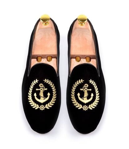 Black Albert Velvet Slippers with Nautical Embroidery - The Dapper Man