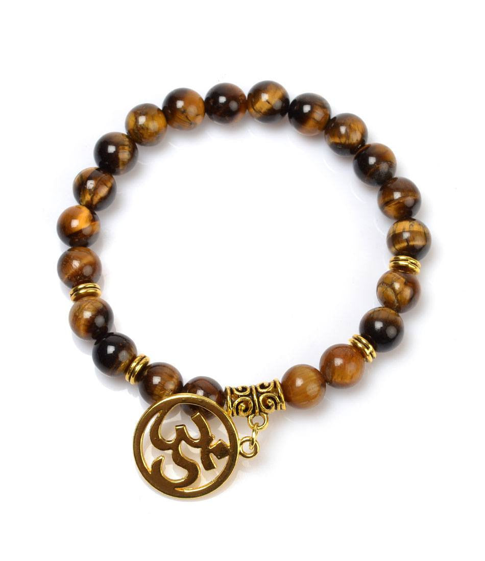 Tiger Eye Golden Om Charm Bracelet