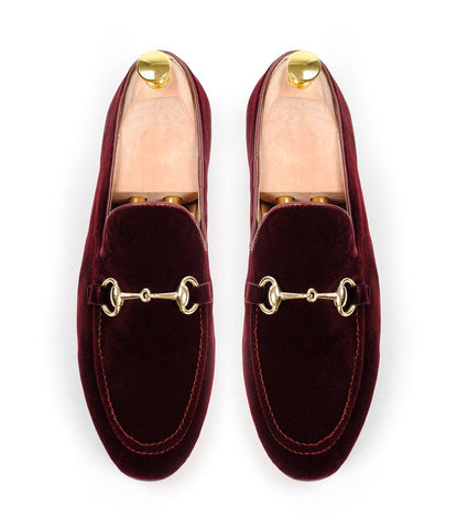 Burgundy Velvet Bit Slippers