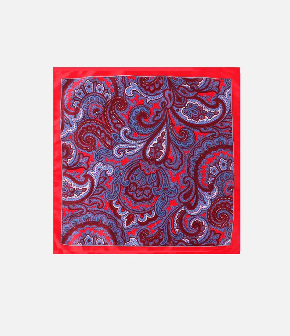 Red & Blue Paisley Pocket Square - The Dapper Man