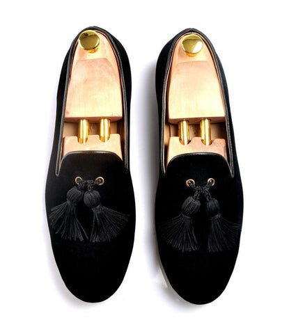 Pelle Santino - Black Albert Velvet Slippers with Tassel
