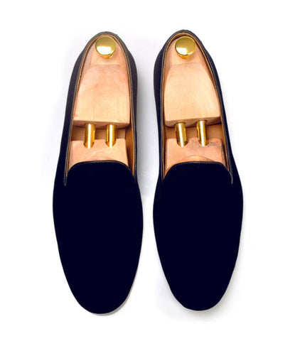 Navy Blue Albert Velvet Slippers