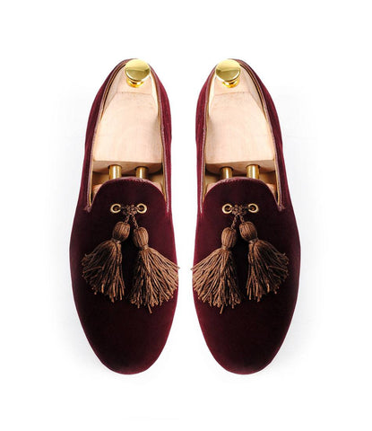 Wine Albert Velvet Slippers with Chocolate Tassel Save