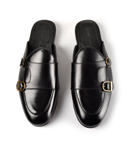Double Monk Strap Leather Mule - Black - The Dapper Man