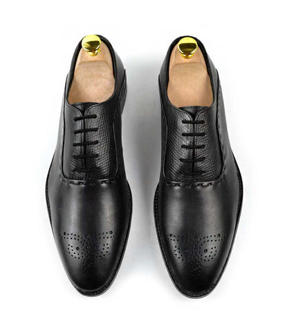 Medallion Toe Oxfords - Full Black - The Dapper Man