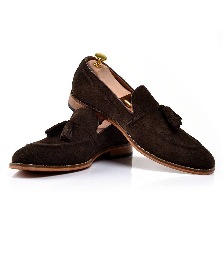 Suede Tassel Loafers - Brown - The Dapper Man