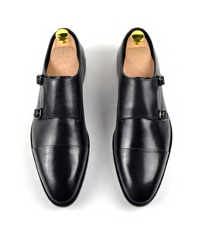 Double Monk Straps Cap toe - Black - The Dapper Man