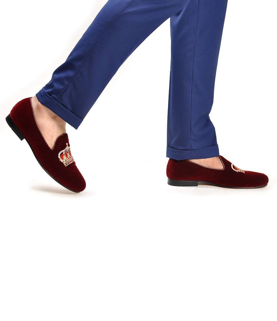 Maroon Albert Velvet Slippers with Crown Embroidery - The Dapper Man