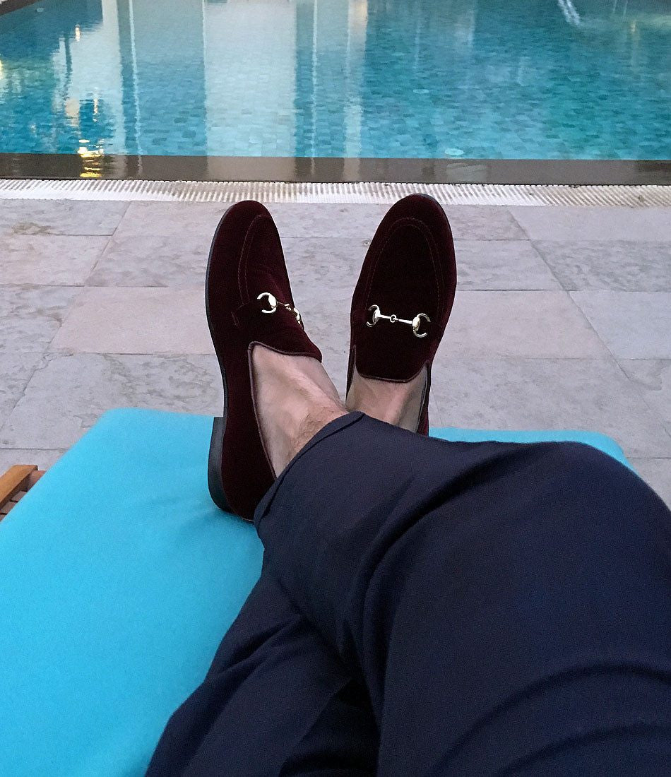Burgundy Velvet Bit Slippers - The Dapper Man