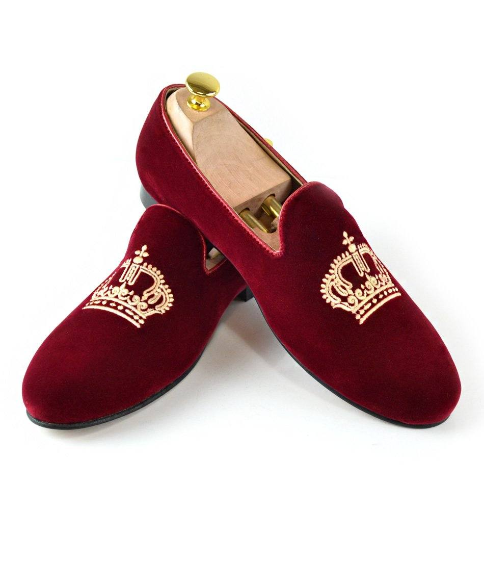 Maroon Albert Velvet Slippers - Golden Crown Embroidery - The Dapper Man