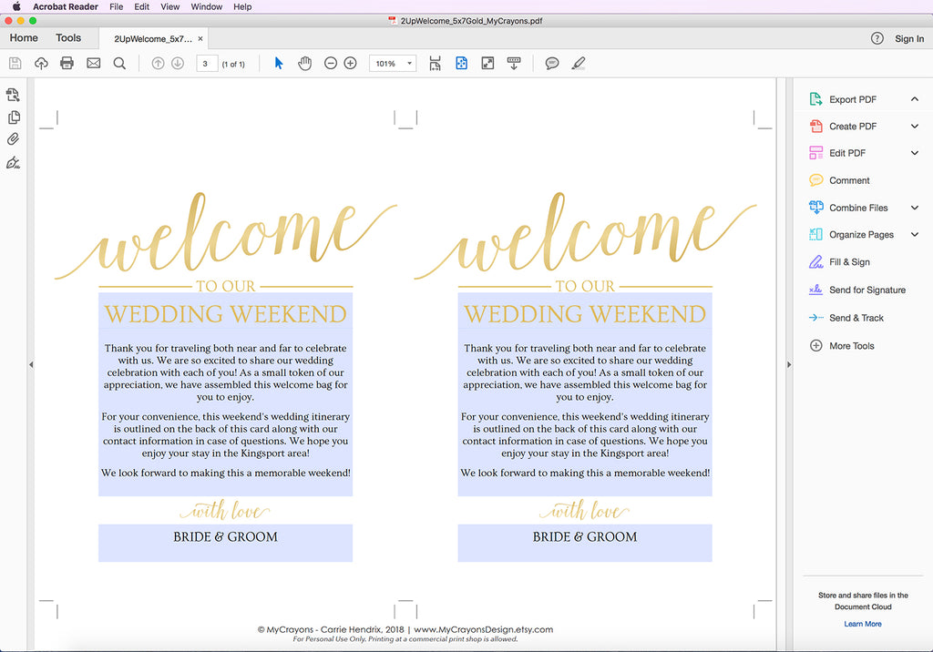 Wedding Welcome Letter - Editing