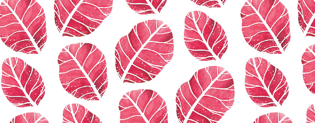 Red Watercolor Leaves Pattern