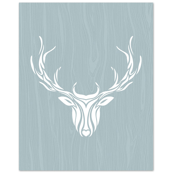 deer art print with blue woodgrain illustration