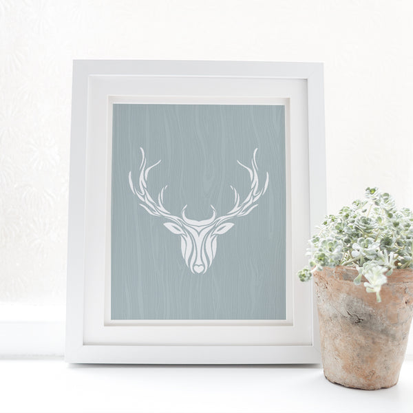 deer print in white frame