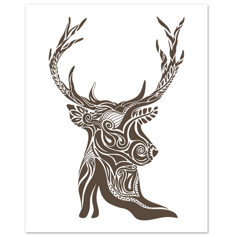 abstract deer and antler print