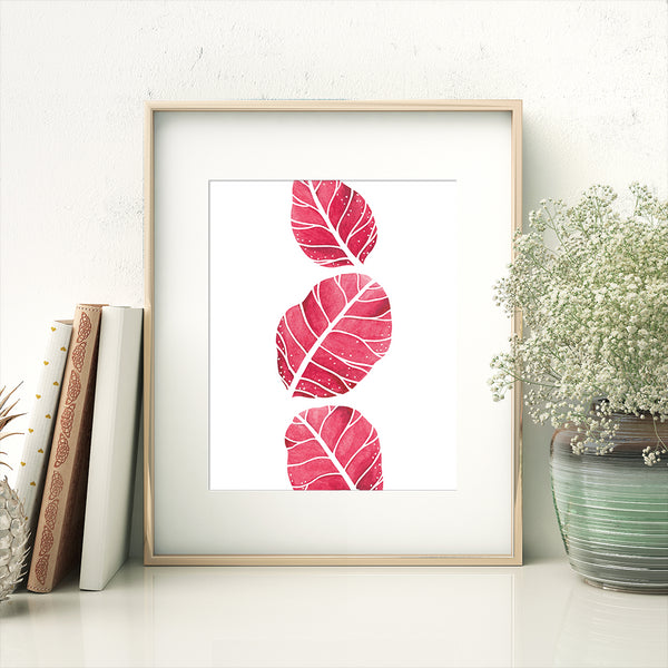 red leaves print in frame
