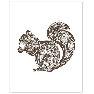 botanical squirrel print