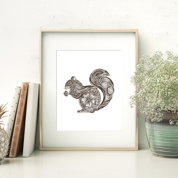 abstract squirrel art print in frame