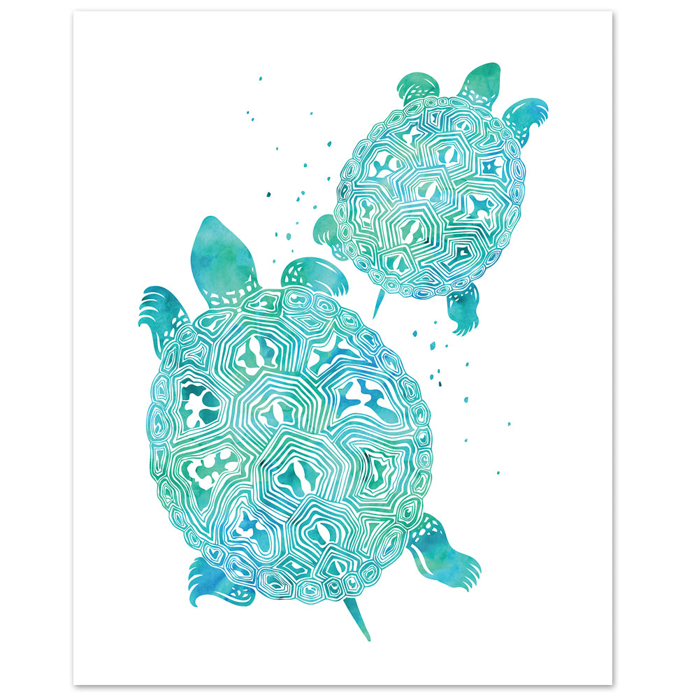 watercolor turtle print