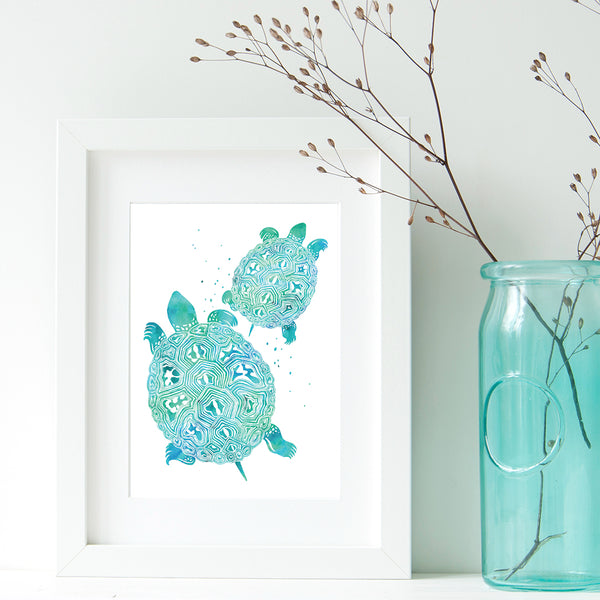 turtle print watercolor in frame