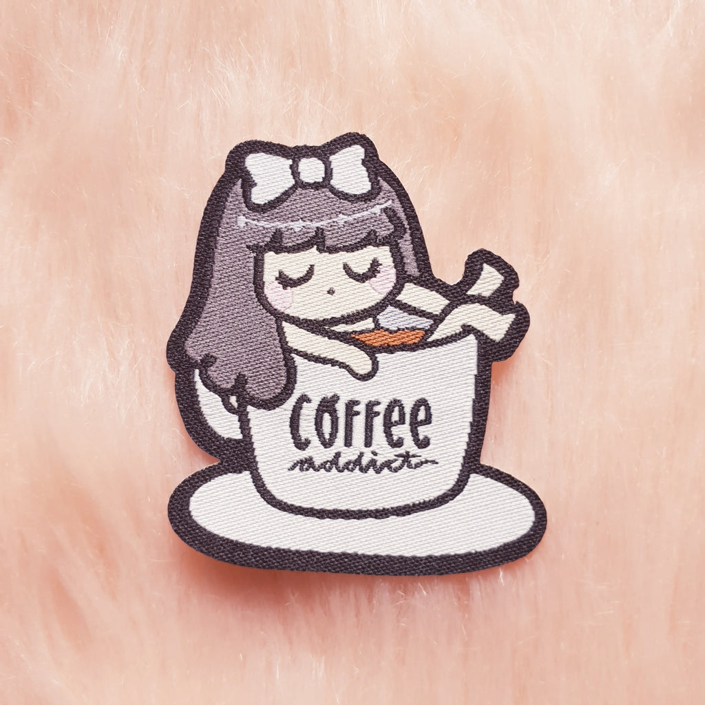COFFEE ADDICT LOLA IRON-ON PATCH - MR009 - KeenaPrints planner stickers bullet journal diary sticker emoji stationery kawaii cute creative planner