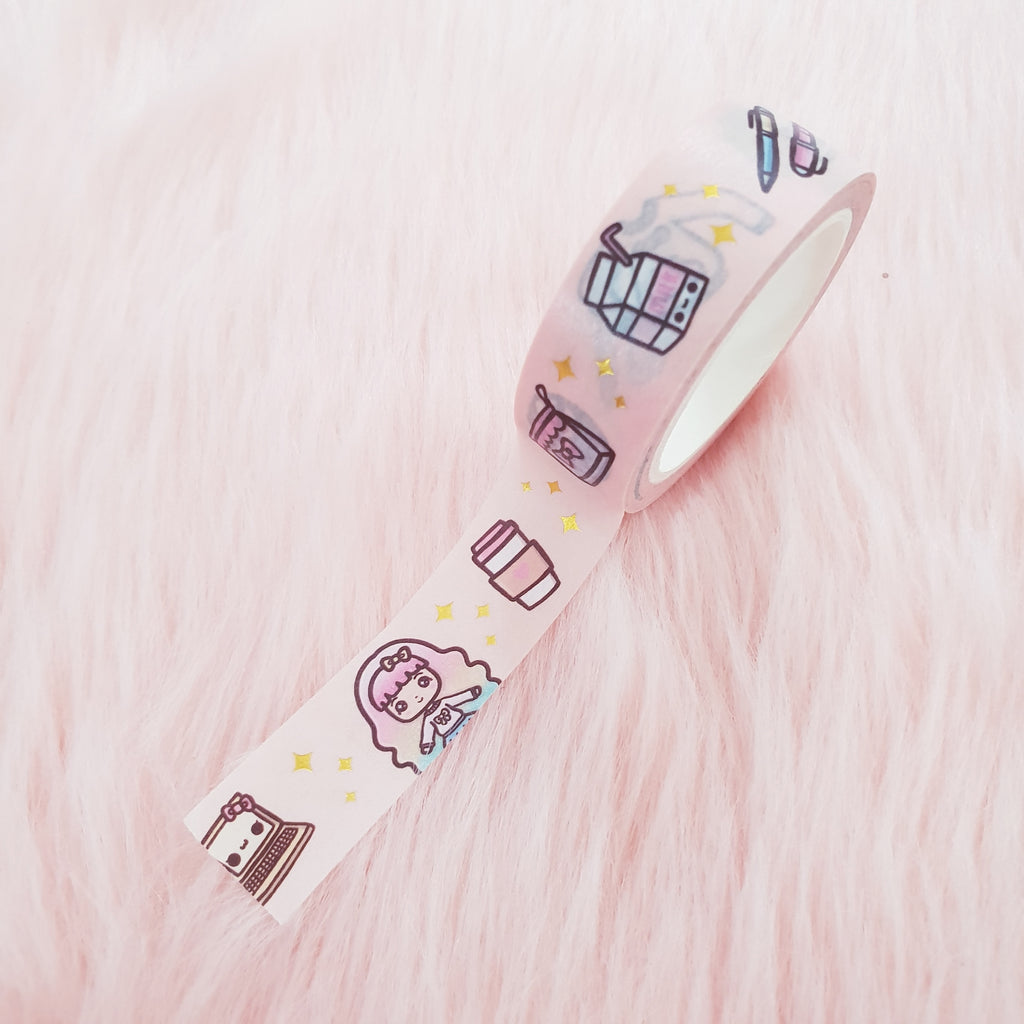 SWEET LOLITA GOLD FOILED WASHI TAPE - WT002 - KeenaPrints planner stickers bullet journal diary sticker emoji stationery kawaii cute creative planner