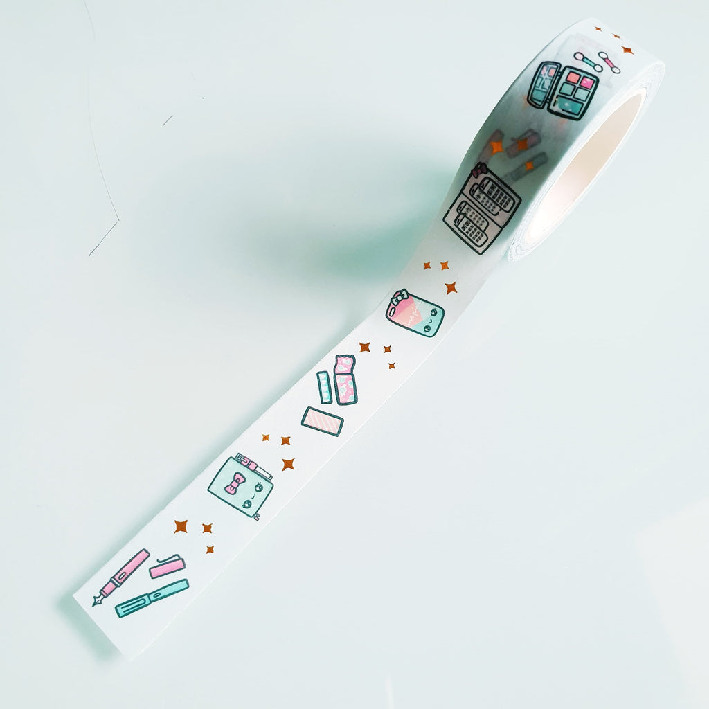 TEA TIME LOLITA GOLD FOILED WASHI TAPE - WT004 - KeenaPrints planner stickers bullet journal diary sticker emoji stationery kawaii cute creative planner
