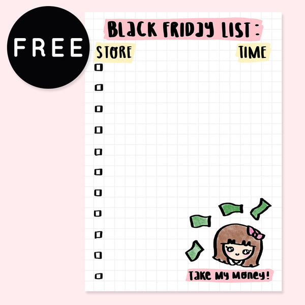 BLACK FRIDAY LIST PLANNER FREE PRINTABLE [A5 SIZE] - KeenaPrints planner stickers bullet journal diary sticker emoji stationery kawaii cute creative planner