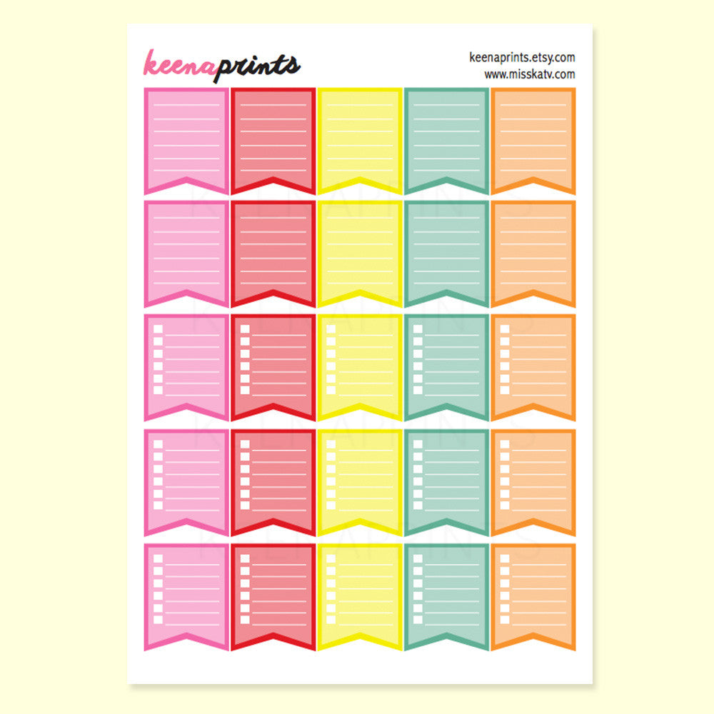 CHECKLIST FLAGS PRINTABLE STICKERS - BRIGHTS